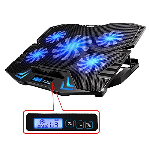 TopMate 12-15.6 inch Gaming Laptop Cooler, Five Quite Fans and LCD Screen,2500RPM Strong Wind Speed Designed for Gamers and Office