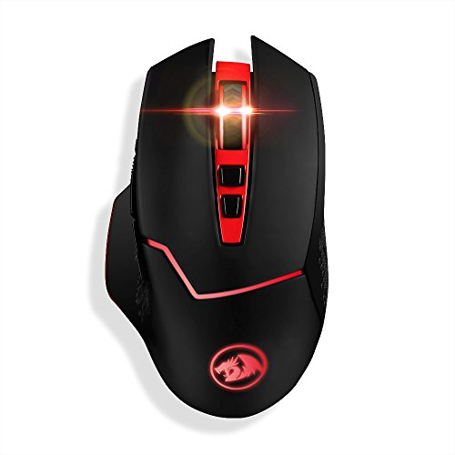 Redragon 4800DPI 2.4GHz Wireless Adjustable Gaming Mouse with 8 Buttons for Notebook, PC, Laptop, Computer (Black)