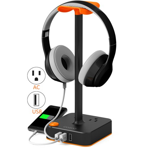 Headphone Stand with USB charger COZOO Desktop Gaming Headset Holder Hanger with 3 USB Charging Station and 2 Outlets Power Strip –