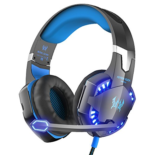 VersionTech G2000 PC Gaming Headset with Volume Control, Stereo Over Ear Headphones with Microphone, Led lights for Laptop Notebook Desktop Computer Gamer –