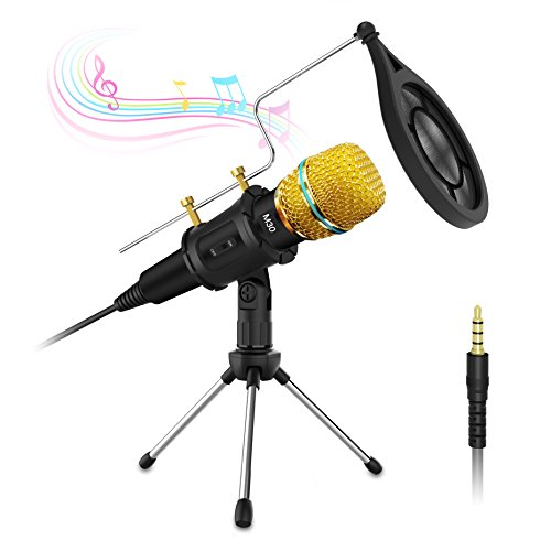 Condenser Microphone with Tripod Stand,Valoin 3.5mm Plug &Play Home Studio Condenser Microphone for PC Desktop Laptop for Recording,