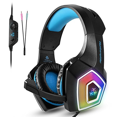 Fuleadture Gaming Headset for PS4 Xbox One, PC Gaming Headset with Mic, Noise Cancelling Over Ear Headphones with LED Light,