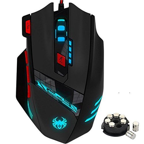 ZELOTES Gaming Mouse,8-piece Weight Tuning Set,9200 DPI Multi-Modes LED lights Wired Mouse,USB MMO Gaming Mice for Notebook,PC,Laptop,Macbook(Black)