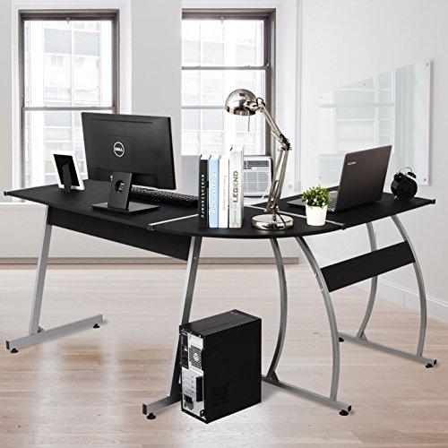 WOLTU L-Shape Gaming Desktop Computer Desk Corner Computer Office Desk PC Laptop Workstation Holding 2 Monitors Black Wood