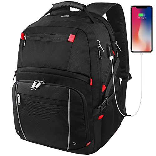 Laptop Backpack 17.3 Inch Waterproof Large Capacity Business Travel Bags College School Students Gaming Laptop Backpacks Notebook Computer Bags USB Charging Port Cable for Men Women Black