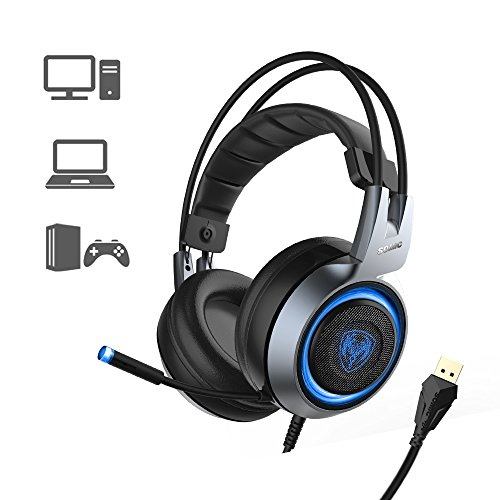 SOMIC G951 USB Plug Stereo Sound Noise Cancelling Gaming Headset for PC, PS4, Laptop, with Vibration Bass,Mic &RGB LED lights (Black)