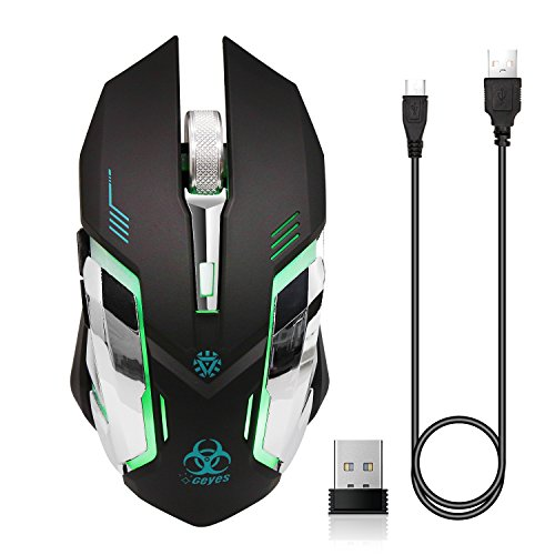 VEGCOO C9s (Updated Version) Wireless Gaming Mouse, Rechargeable Silent Click Mice with Nano Receiver, Changing Breathing Backlit,