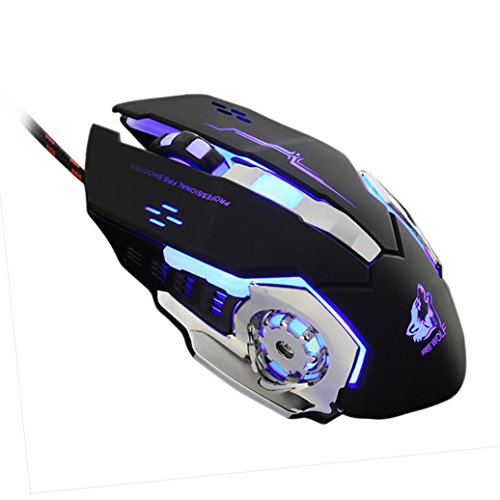 Mchoice Wired LED Light 4000DPI Optical Usb Ergonomic Pro Gamer Gaming Mouse Metal Plate (Black)