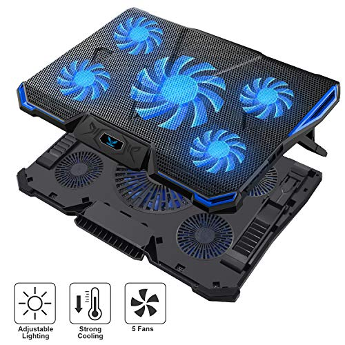 "Wsky Laptop Cooler, Ultra Slim 12""-18"" inch Laptop Cooling Pad with 5 Quiet Fans and Blue LED Light,"