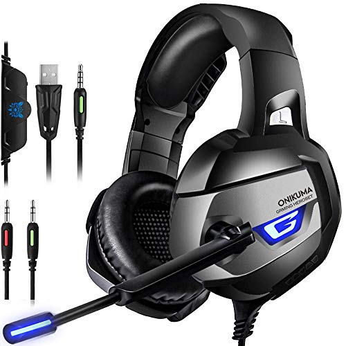 ONIKUMA Stereo Gaming Headset for PS4, Xbox One, PC, Enhanced 7.1 Surround Sound, Updated Noise Cancelling Mic Headphones,