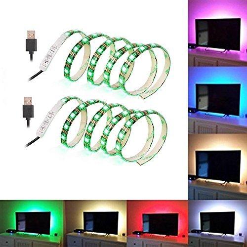 ( 2-Pack) SOLLED Bias Lighting for HDTV 60 LEDs TV Backlight, 3.28Ft Ambient TV Lighting Multi-Color Flexible 5050 RGB USB LED Strip,