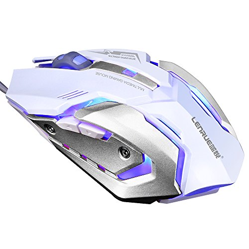 LENRUE Gaming Mouse with LED Optical, 4 DPI Adjustment Levels, 6 Buttons for Laptop, PC,