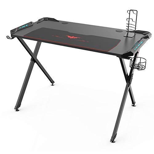 Eureka Ergonomic X1-S Gaming Computer Desk PC Table Gaming Desks with LED Lights Large Carbon Fiber Surface Cup Holder &
