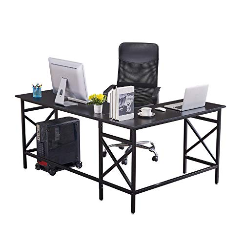DORAFAIR L Shaped Computer Desk, Office Home Large Corner Table, Modern Gaming Laptop Study Table Workstation Spacious Work Area