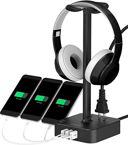 Headphone Stand with USB Charger COZOO Desktop Gaming Headset Holder Hanger with 3 USB Charger and 2 Outlets –