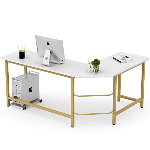 Tribesigns Modern L Shaped Desk, Corner Computer Office Desk PC Laptop Gaming Table Workstation for Home Office,