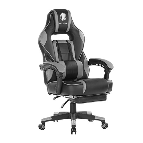 KILLABEE Reclining Memory Foam Racing Gaming Chair – Ergonomic High-Back Racing Computer Desk Office Chair with Retractable Footrest and Adjustable Lumbar Cushion,