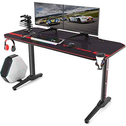 Vitesse 55 inch Gaming Desk T-Shaped Computer Desk with Free Large Mouse pad, Racing Style Professional Gamer Game Station with USB Gaming Handle Rack,