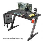 EUREKA ERGONOMIC Z1-S Gaming Desk 44.5″ Z Shaped Office PC Computer Gaming Desk Gamer Tables Pro with LED Lights Controller Stand Cup Holder Headphone Hook Free Mousepad for Men Boyfriend Female Gift