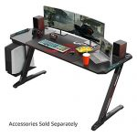 "EUREKA ERGONOMIC Z60 Gaming Desk 60"" Z Shaped PC Computer Gaming Desks Tables with RGB LED Lights Controller Stand Large Mousepad for E-Sport Racing Gamer Pro Home Office Gift"