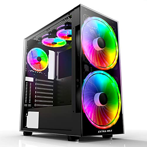 Extra Mile Gaming Computer Case ATX Mid Tower PC Case with 3 Tempered Glass, 5 RGB Fans,