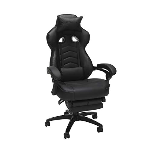 RESPAWN 110 Racing Vogue Gaming Chair, Reclining Ergonomic Leather-essentially based entirely mostly Chair with Footrest, in Shaded (RSP-110-BLK), 28.50″ D x 26.75″ W x 48.50″-51.50″