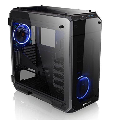 Thermaltake Scrutinize 71 4-Sided Tempered Glass Vertical GPU Modular SPCC E-ATX Gaming Fats Tower Laptop Case with 2 Blue LED Riing Fan Pre-build in CA-1I7-00F1WN-00