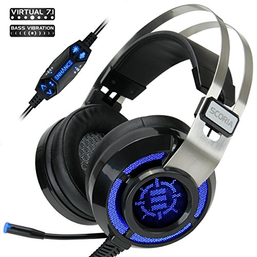 ENHANCE Scoria Gaming Headset for Laptop & PS4 with USB 7.1 Encompass Sound , Interactive Bass Vibration , Adjustable LED Lighting , In-Line Controls &