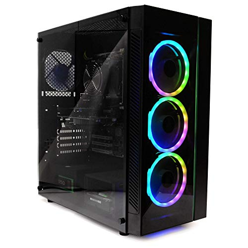 Periphio Gaming Desktop Computer Tower PC, Intel Quad Core i5 3.1GHz, 8GB RAM, 128GB SSD + 1TB 7200 RPM HDD, Windows 10, GeForce GTX 1650 4GB Overclocked Version Graphics Card RGB HDMI Wi-Fi (Renewed)
