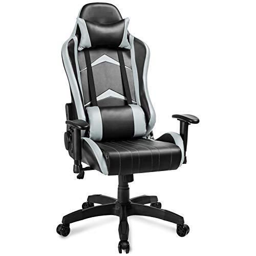 Ergonomic Pc Gaming Chair PU Leather-based entirely mostly Location of job Chair Swivel Adjustable Recline Racing Chair (Gray)