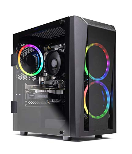 SkyTech Blaze II Gaming Computer PC Desktop – Ryzen 5 2600 6-Core 3.4 GHz, NVIDIA GeForce GTX 1650 4G, 500G SSD, 8GB DDR4, RGB, AC WiFi,