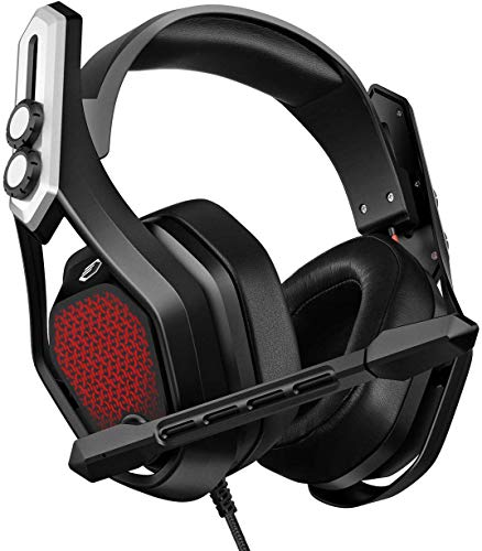 [Bass Edition] Mpow Iron Gaming Headset PS4 PC USB Headset, 7.1Surround Sound Bass Model,50MM First-rate Chamber Drivers, Noise Cancelling Mic, RGB Light 3.5mm Xbox One Computer Headset