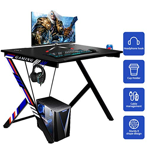 YODOLLA Gaming Desk 43.5″ Gaming Desk House Pc Desk with Cup Holder and Headphone Hook Gamer Workstation Recreation Desk