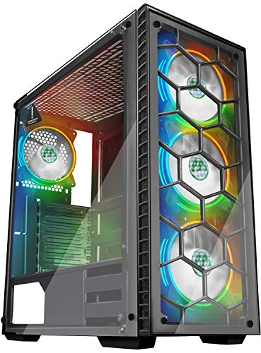 MUSETEX ATX Mid Tower Gaming Computer Case 4 RGB LED Fans 2 Translucent Tempered Glass Panels USB 3.0 Port,Cable Administration/Airflow, Gaming Type Window Case (903 S4)