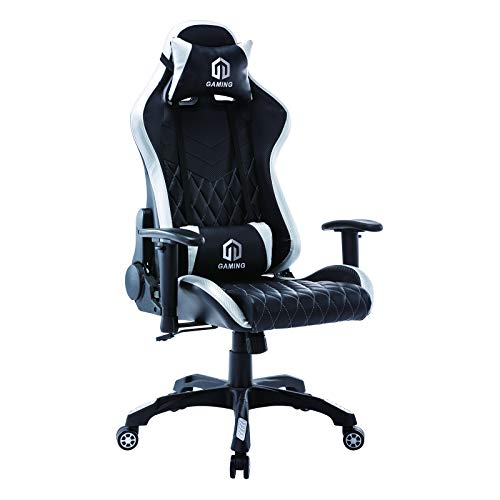 Gaming Chair Racing Place of job Chair Computer Desk Chair Govt and Ergonomic Reclining Swivel Chair with Headrest and Lumbar Cushion (BK/White)