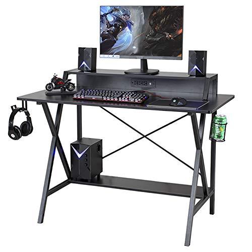 Sedeta Gaming Desk, 47″ Gaming Desk, E-Sports activities Laptop Desk, Gaming Workstation Desk, PC Stand Shelf Energy Strip with USB Cup Holder & Headphone Hook House Place of work Desk Gamer Desk Writing Desk,