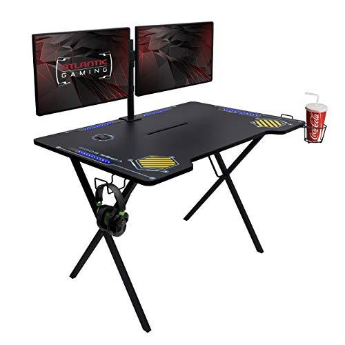 Atlantic Gaming Desk Viper 3000 – Pc Gaming Desk, LED Illumination, Three USB 3.0 Ports, Pill/Phone Slot, Cup Holder, Dual Headphone Hooks, Storage Tray, Satin Originate Floor,