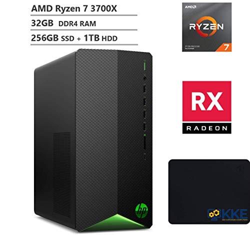 HP Pavilion TG01 Gaming Desktop PC, AMD Ryzen 7 3700X 8-Core Processor(Better Than i9-9900), AMD Radeon RX 550 Graphics, 32GB DDR4 RAM, 256GB SSD + 1TB HDD,