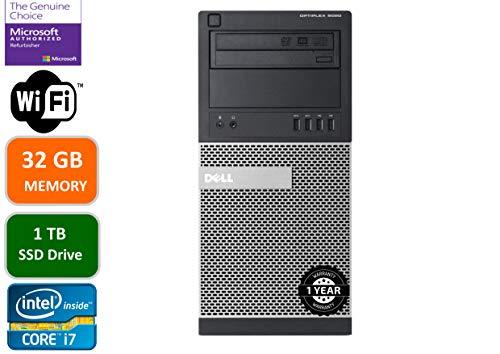 Dell Optiplex 9020 Mini Tower Desktop PC, Intel Core i7-4770-3.4 GHz, 32GB Ram, 1TB (1000GB) SSD Drive, WiFi, DVD-RW, Dwelling windows 10 Expedient (Renewed)