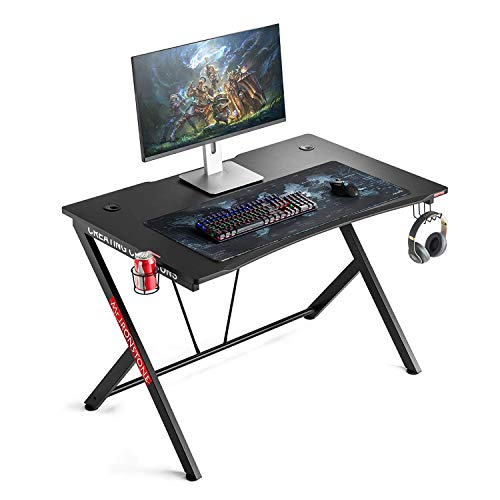 Mr IRONSTONE Gaming Desk forty five.3″ W x 29″ D Home Space of enterprise Computer Desk, Shadowy Gamer Workstation with Cup Holder, Headphone Hook and 2 Cable Administration Holes