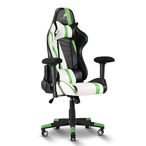 Atelerix Ventris Pulse PU Leather Gaming Chair – Desk, Situation of job or Computer Chair – Tilting Mechanism & Ergonomic Adjustable Swivel Game Chair w/ 4D Armrests,