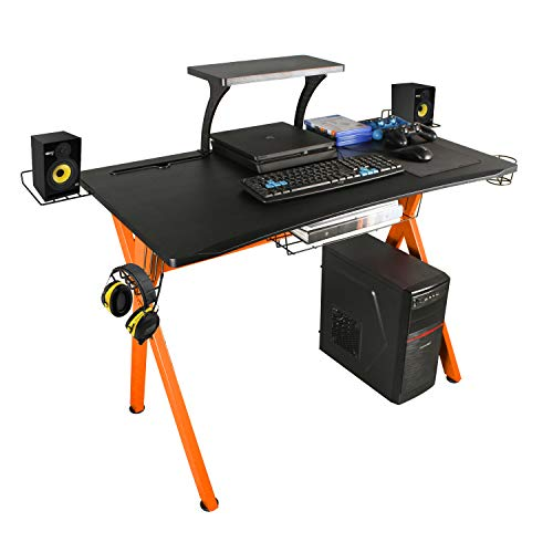 lazzo Classy 41.7″Multifunction Gaming Desk Track Workstation With Removable Trace Give a enhance to Plate,Cup Holder and Headphone Hook,Storage Basket,For Residence Spot of job Bed room,Orange &
