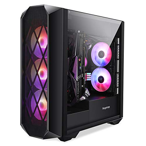 Segotep Argus ATX Mid Tower Gaming Desktop Pc Case with Tempered Glass w/ 3X 120mm Addressable RGB Followers Pre-Assign in, Kind-C