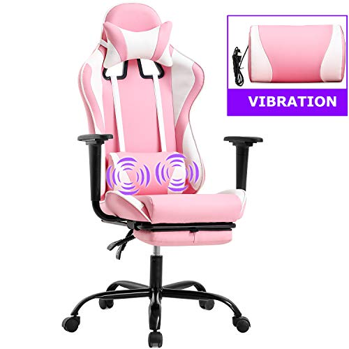 PC Gaming Chair Racing Assign of job Chair Ergonomic Desk Chair Rubdown PU Leather-basically basically based Recliner Computer Chair with Lumbar Reinforce Headrest Armrest Footrest Rolling Swivel Assignment Chair for Adults (Purple)