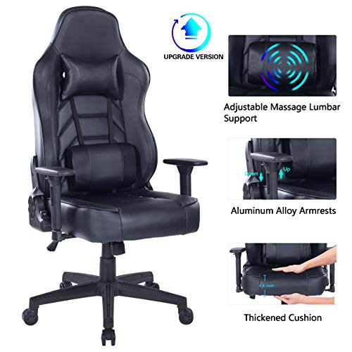 Blue Whale Gaming Chair with Therapeutic massage Lumbar Pillow, PC Computer Video Sport Racing Chair Reclining Govt Ergonomic Place of work Desk Chair with Headrest 8291 Murky