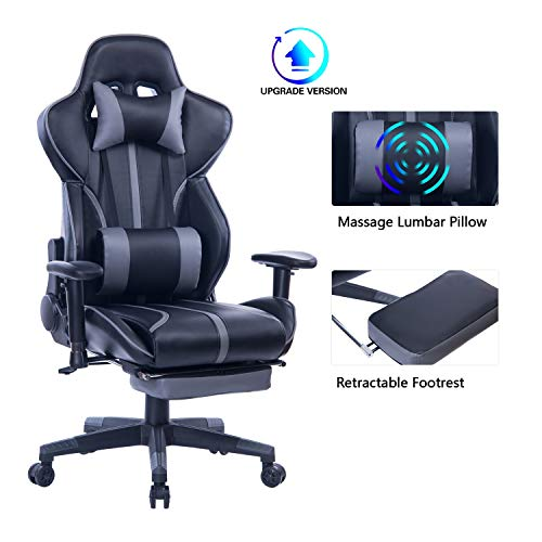 Blue Whale Gaming Chair with Adjustable Rub down Lumbar Pillow,Retractable Footrest and Headrest -Racing Ergonomic Excessive-Benefit PU Leather-essentially essentially essentially based Place of dwelling of job Pc Govt Desk Chair 8239Grey
