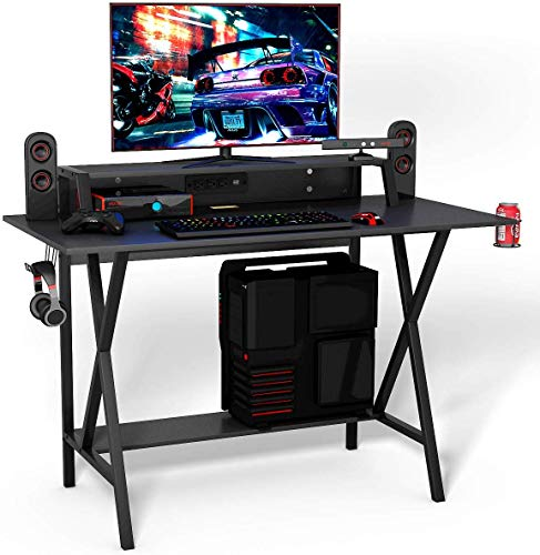 GOFLAME Gaming Pc Desk, Huge Pc Gaming Workstation with Cup & Headphone Holder, Gaze Writing Desk for Dwelling and Predicament of business, Shaded