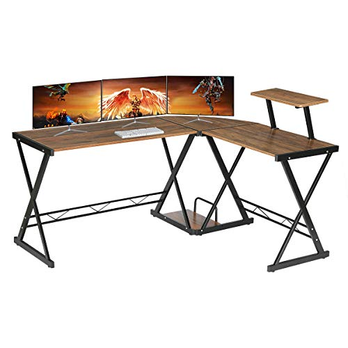 "GreenForest L Fashioned Desk Smooth Dimension 64""x50""with Transportable Shelf, Gaming Laptop Corner Desk Personal laptop Desk Workstation for Dwelling Place of job, Walnut"