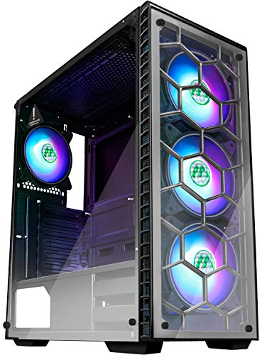 MUSETEX ATX Mid Tower Gaming Computer Case 4 RGB LED Followers,Up to 6 Followers, 2 Translucent Tempered Glass Panels USB 3.0 Port,Cable Administration/Airflow, Gaming Model Window Case (903N4)