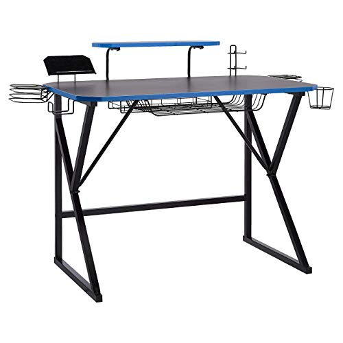 AmazonBasics Gaming Computer Desk with Storage for Controller, Headphone & Speaker – Blue